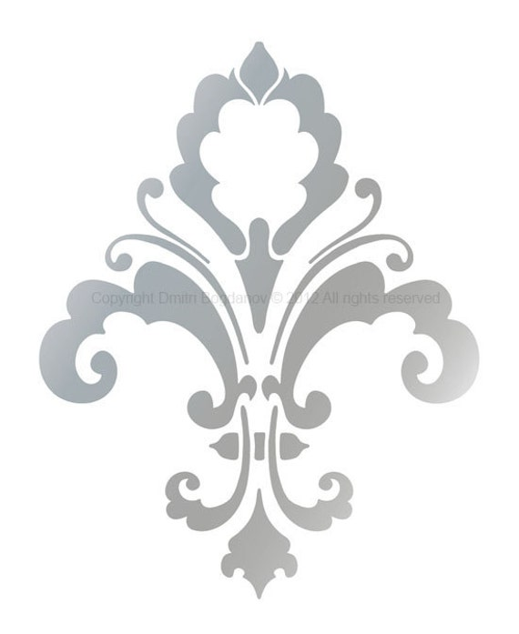 Items similar to fleur de lis designer decorative stencil for Plantillas para pintar paredes