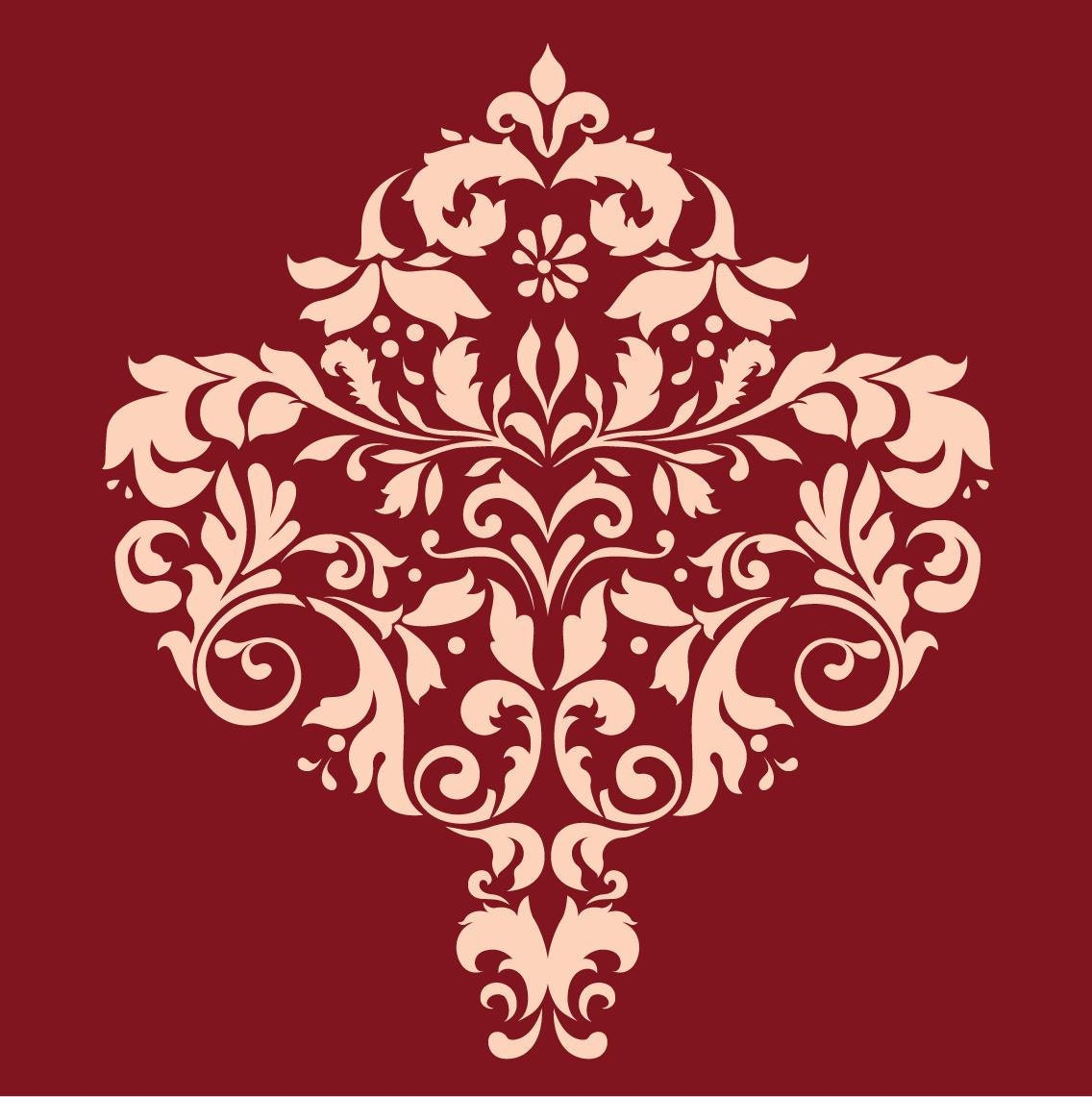 Large wall damask stencil pattern faux mural 1001 zoom amipublicfo Image collections
