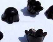 25 Acrylic Shiny Black Bell Flower Beads Caps 10mm x 6mm  (PC54SB)