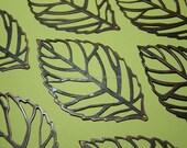 8 Huge Leaves  Leaf  Filigree Pendant  Bead Wrap Antique Red Copper  54mm x 31mm (E16AC)