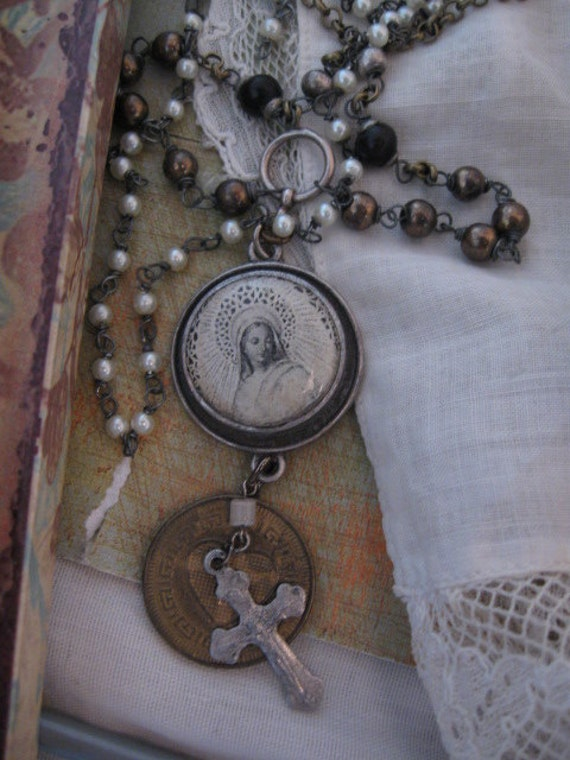 In The Arms of Grace... vintage assemblage  necklace