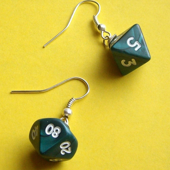 Die, Die, My Darling Earrings - Green Pearl - Geek Gamer DnD Role Playing RPG - Paw & Claw Designs