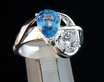 Party of Two - White and Blue Topaz ring