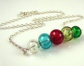 Colorful Hollow Bubble Glass Sterling Silver Necklace
