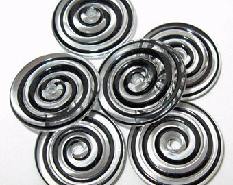 Black and Clear Swirl Lampwork Glass Disc Beads- Set of 6