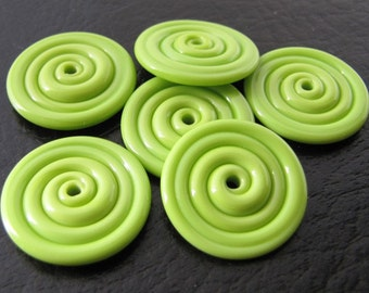 Pea Green Opaque Lampwork Glass Disc Beads