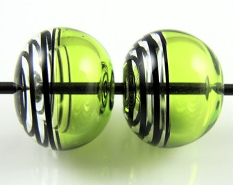 Lime Green and Black Swirls Lampwork Glass Hollow Bead Pairs