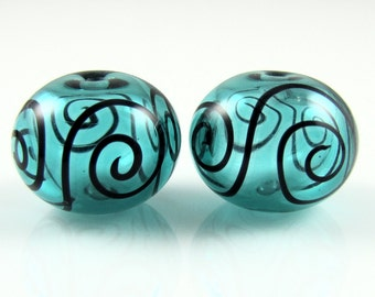 Teal Blue and Fine Black Scroll Hollow Lampwork Glass Bead Pairs