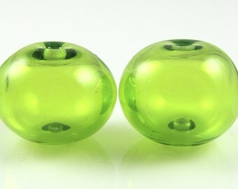 Regular Hollow SALE - Lime Green Lampwork Glass Hollow Bead Pairs