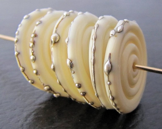 Ivory and Fine Silver Lampwork Glass Disc Beads