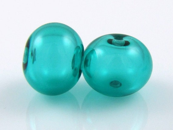 Regular Hollow SALE - Teal Hollow Lampwork Glass Bead Pairs