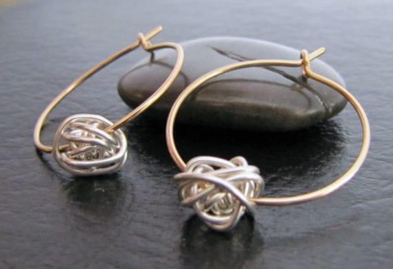 Gold Silver Mixed Metal Hoop Knot Nautical Earrings