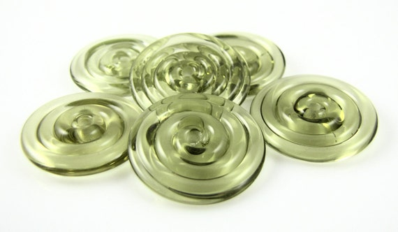 Mojito Green Lampwork Glass Disc Bead Set of 6