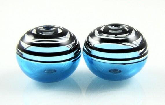 Aqua and Black Swirls Lampwork Glass Bead Pairs