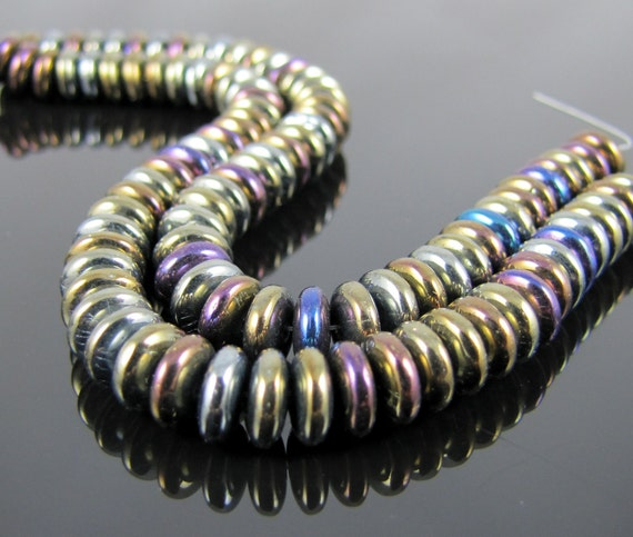 Free Lampwork with Czech Glass Rondelle - Iris Brown 6mm - 50 Beads