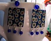 16th century Iznic design tile earrings, dark blue earrings with cobalt blue beads, Turkish jewelry, Islamic jewelry