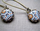 Dangle Drop earrings, Alhambra, Spain, Islamic tile reproduction cabochon, handmade, geometric design, boho jewelry, made to order