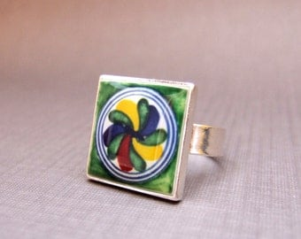 Talavera tile design miniature in green, sterling silver ring, adjustable, Southwestern Jewelry, Mexican Jewelry