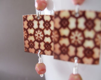 Portuguese Miniature Ceramic Tile Reproduction earrings, North African, Moroccan style, Tribal jewelry, geometric jewelry
