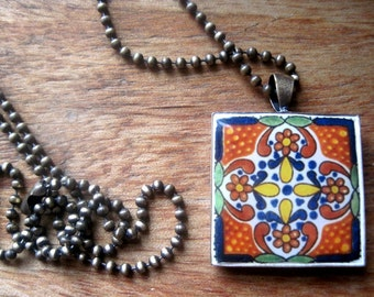 Mexican tile design, Talavera design bronze pendant necklace, Mexican jewelry, Native, Southwestern, Country Western bridal jewelry, MTO