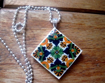 Mexican Talavera ceramic tile mural design diamond pendant, Mission, Dia De Los Muertos, Cinco de Mayo, Mexican jewelry