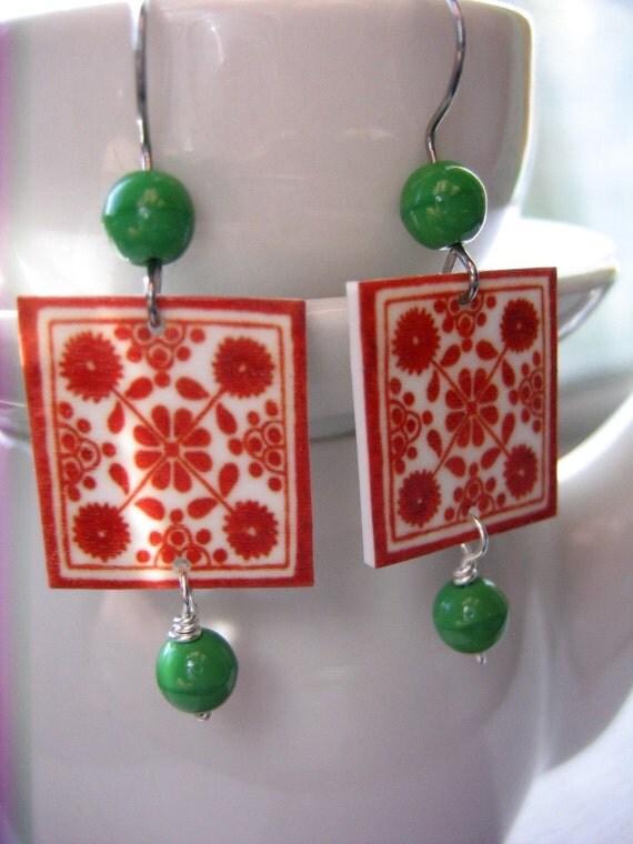 Talavera tile Lovers Earring, vintage beads