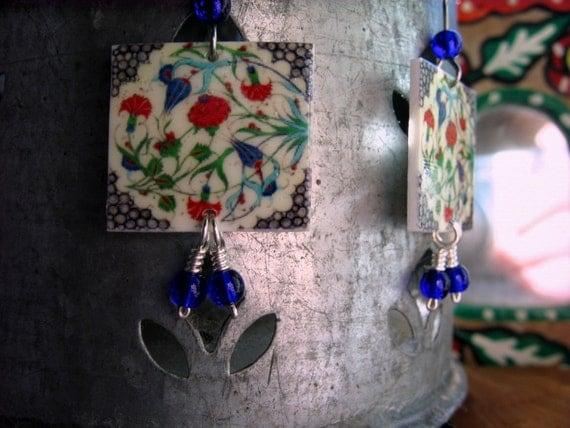Turkish Tile Image Earring, Handcrafted tile, cobalt blue glass beads