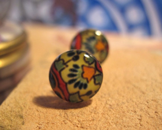 Mexican Jewelry, Mexican Wedding, Talavera tile, boho chic southwestern post earrings, Spanish jewelry