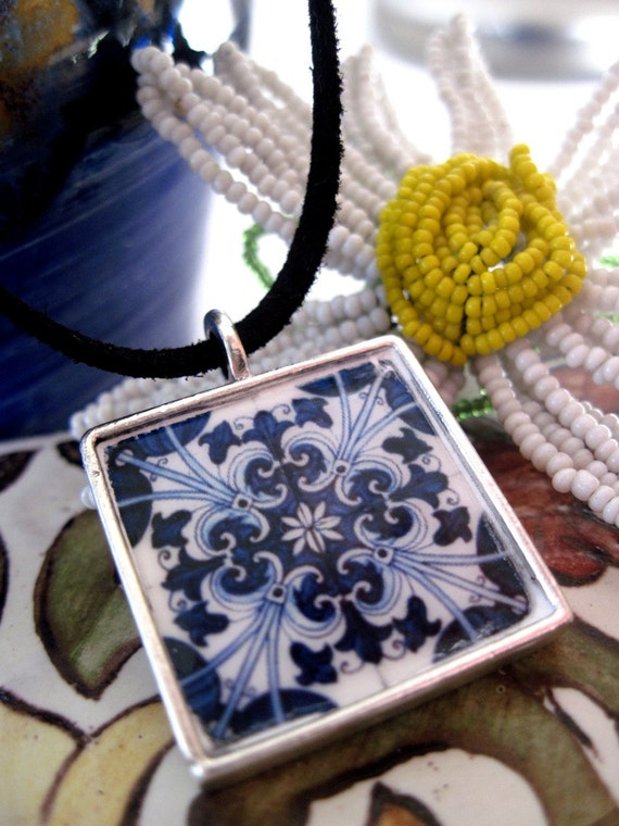 SALE, Pendant, Portuguese ceramic design tile inspired, hand printed, Mediterranean jewelry