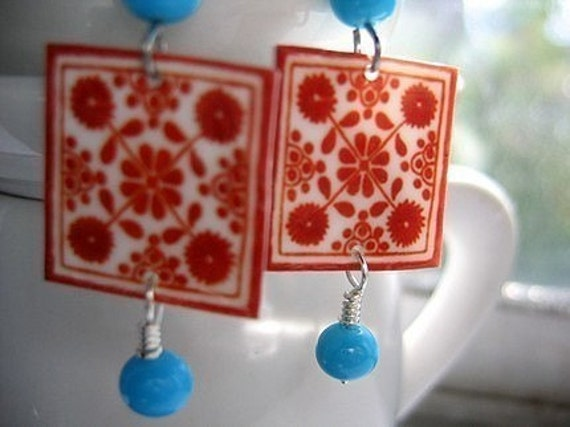 Mexican Jewelry, Native earrings, Folk art Decorative ceramic tile pattern, MTO, Red tile w/turquoise glass beads, Southwestern