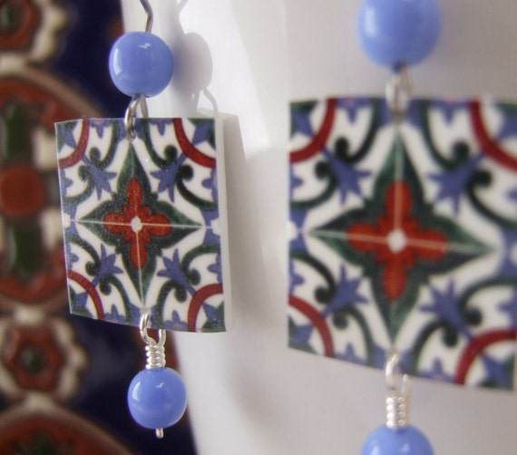 SALE, Miniature Ceramic Tile Reproduction earrings, A Mural in Portugal, Spain, free shipping