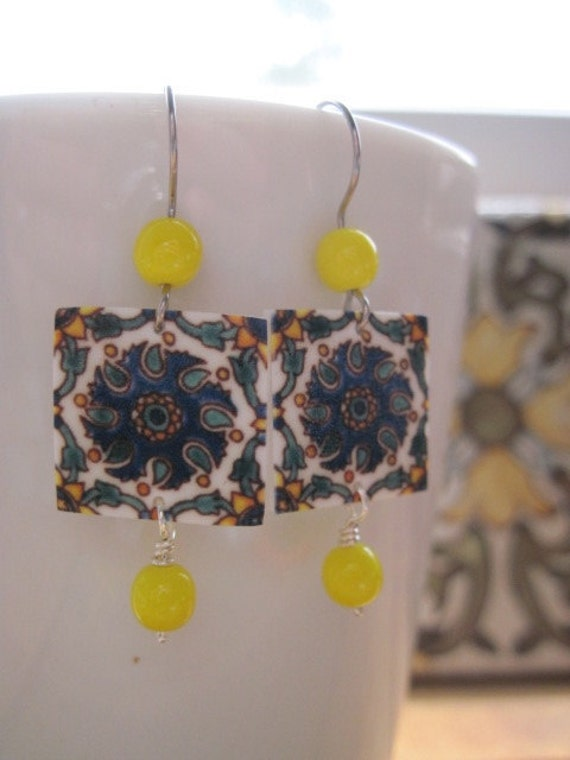 Earrings, Mediterranean tile, Vintage yellow glass beads, Spain, Portugal, Italy, Morocco
