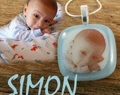 Simon Fused Glass Necklace...Customized With Image of Your Baby