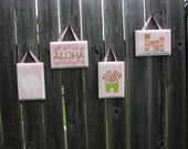 Aloha Baby Pink Whimsical Boutique Distressed Wall Hangings