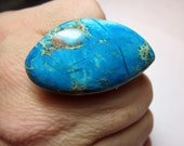 Turquoise Jasper Ring. Adjustable Silver Plated Band.
