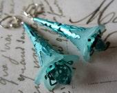 Aqua Hand Painted Filagree Earrings.  Vintage Style. Elongated Drops.