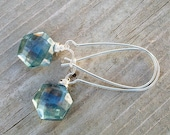 Teal Quartz Earrings. Mystic Teal. Helix Briolettes. Sterling Silver Kidney Wires.