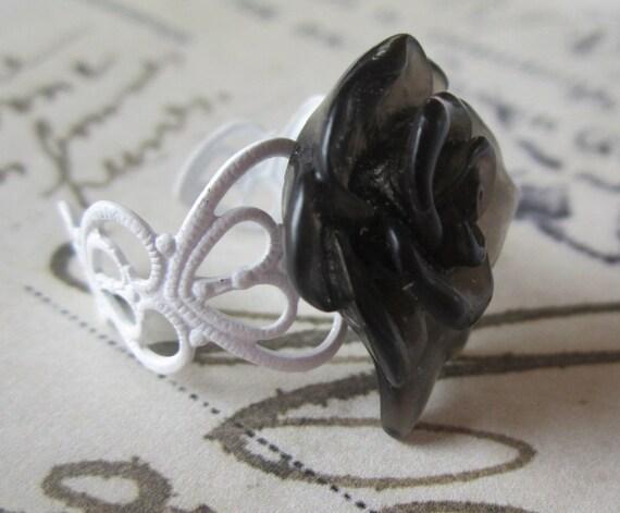 SALE Black and White Ring. Black Rose. White Filagree Adjustable Band.