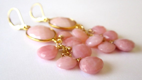 Pink Opal Earrings. Gold Filled Leverbacks, Fashion Under 50.