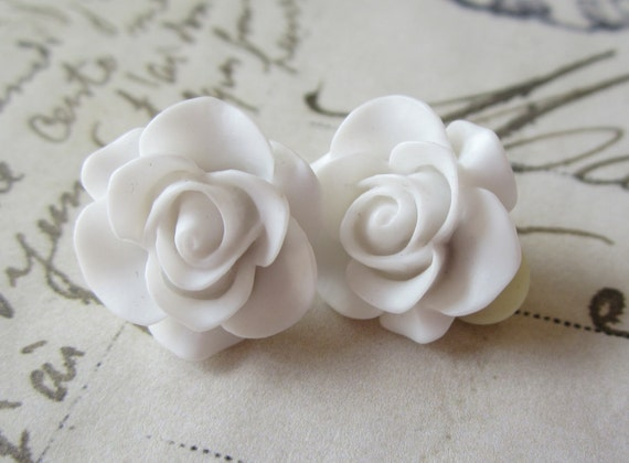 White Rose Clip On Earrings.  For Non Pierced Ears.
