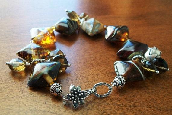 Lampwork  Bracelet.Lampwork Glass. Sterling Silver.