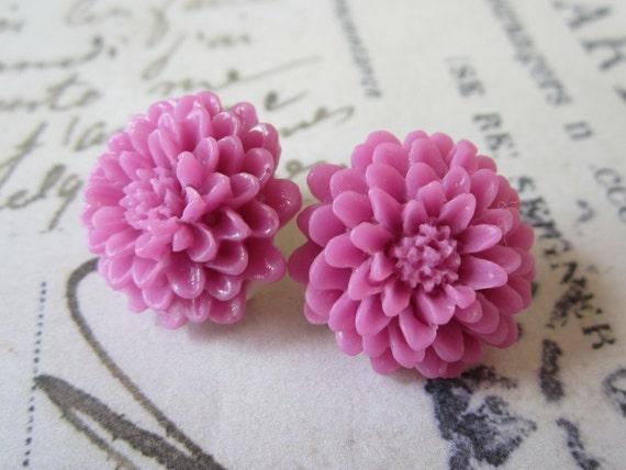 Dark Pink Clip on Earrings. Chrysanthemums.