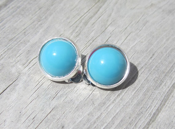 Turquoise Glass Clip On Earrings.Black  Friday Cyber Monday Etsy