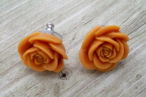SALE  Post Earrings - Butterscotch Rose Resin Earrings
