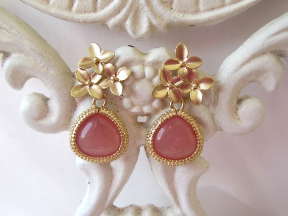 Pink Agate Earrings with Matte Gold.  Post Style.