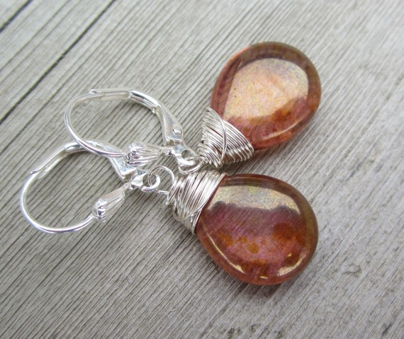 SALE   Rose Gold Glass Briolette Earrings. Wire Wrapped. Silver. Fashion Under 10.