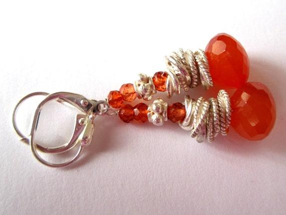 Carnelian Earrings. Gemstones. Orange. Silver. Leverbacks.