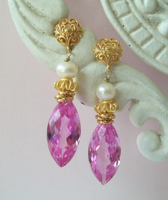 RESERVED   Pink Topaz Earrings. Marquis Shaped. Vermeil. Lux Earrings. Wedding.Black  Friday Cyber Monday Etsy