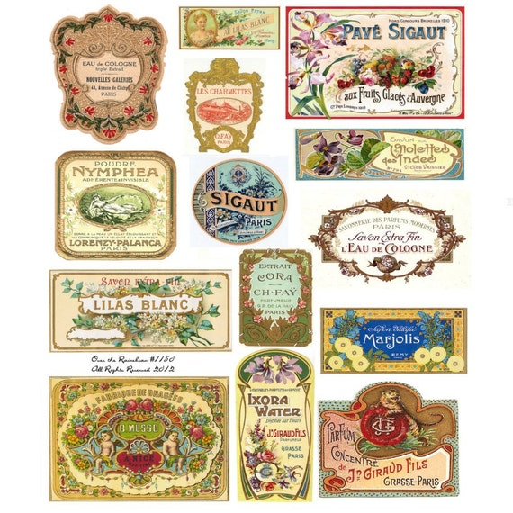 Vintage French Perfume Labels Vintage Perfume Labels