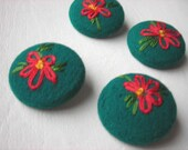 Floral Fabric Buttons - Set of 4